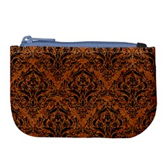 Damask1 Black Marble & Rusted Metal Large Coin Purse