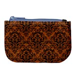 DAMASK1 BLACK MARBLE & RUSTED METAL Large Coin Purse Front