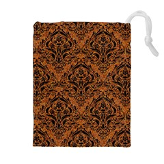 Damask1 Black Marble & Rusted Metal Drawstring Pouches (extra Large)