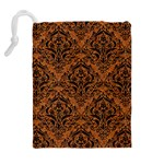 DAMASK1 BLACK MARBLE & RUSTED METAL Drawstring Pouches (Extra Large) Back