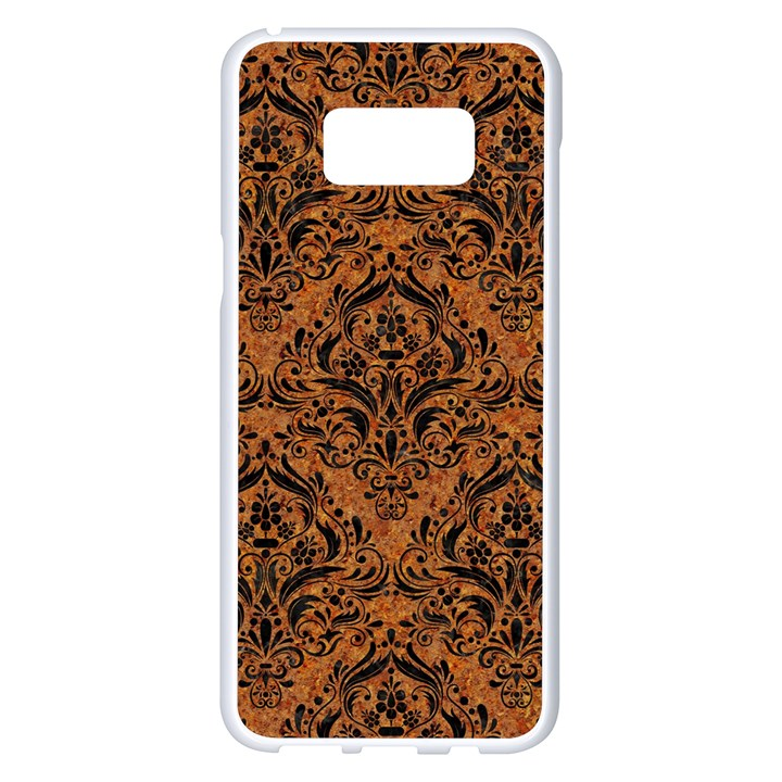 DAMASK1 BLACK MARBLE & RUSTED METAL Samsung Galaxy S8 Plus White Seamless Case