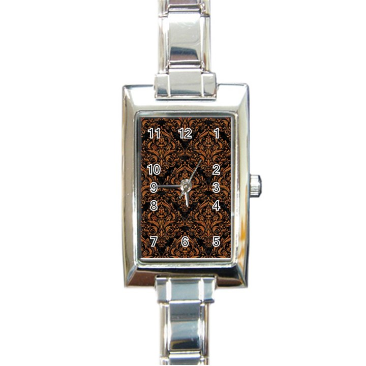 DAMASK1 BLACK MARBLE & RUSTED METAL (R) Rectangle Italian Charm Watch