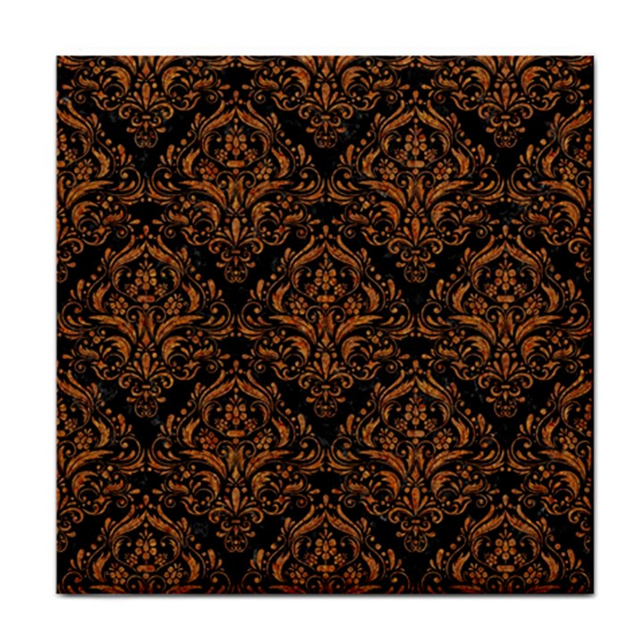 DAMASK1 BLACK MARBLE & RUSTED METAL (R) Tile Coasters