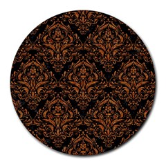 Damask1 Black Marble & Rusted Metal (r) Round Mousepads
