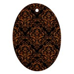 DAMASK1 BLACK MARBLE & RUSTED METAL (R) Ornament (Oval) Front