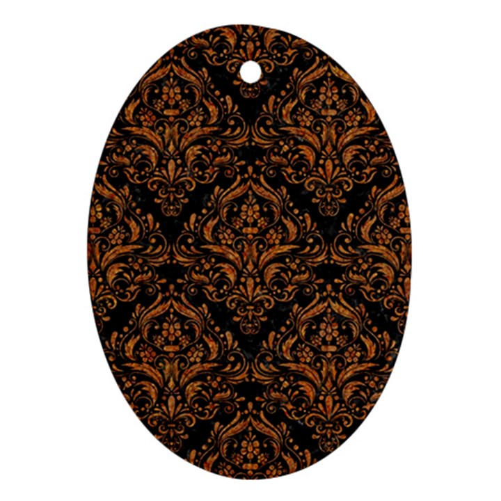 DAMASK1 BLACK MARBLE & RUSTED METAL (R) Ornament (Oval)