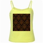 DAMASK1 BLACK MARBLE & RUSTED METAL (R) Yellow Spaghetti Tank Front