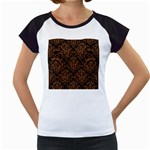 DAMASK1 BLACK MARBLE & RUSTED METAL (R) Women s Cap Sleeve T Front