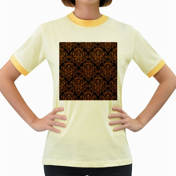 DAMASK1 BLACK MARBLE & RUSTED METAL (R) Women s Fitted Ringer T-Shirts
