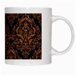 DAMASK1 BLACK MARBLE & RUSTED METAL (R) White Mugs Right