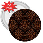 DAMASK1 BLACK MARBLE & RUSTED METAL (R) 3  Buttons (100 pack)  Front