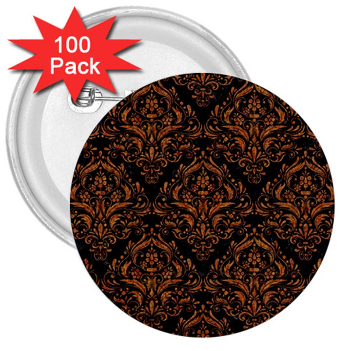 DAMASK1 BLACK MARBLE & RUSTED METAL (R) 3  Buttons (100 pack)