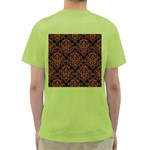 DAMASK1 BLACK MARBLE & RUSTED METAL (R) Green T-Shirt Back