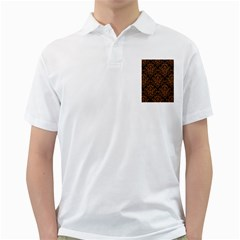 Damask1 Black Marble & Rusted Metal (r) Golf Shirts