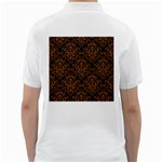 DAMASK1 BLACK MARBLE & RUSTED METAL (R) Golf Shirts Back