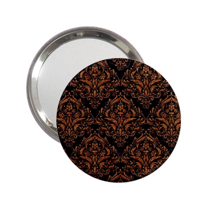 DAMASK1 BLACK MARBLE & RUSTED METAL (R) 2.25  Handbag Mirrors