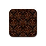 DAMASK1 BLACK MARBLE & RUSTED METAL (R) Rubber Square Coaster (4 pack)  Front