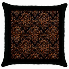 Damask1 Black Marble & Rusted Metal (r) Throw Pillow Case (black)