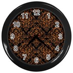DAMASK1 BLACK MARBLE & RUSTED METAL (R) Wall Clocks (Black) Front