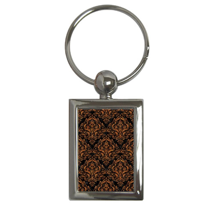 DAMASK1 BLACK MARBLE & RUSTED METAL (R) Key Chains (Rectangle)