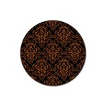 DAMASK1 BLACK MARBLE & RUSTED METAL (R) Rubber Coaster (Round)  Front