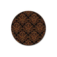 Damask1 Black Marble & Rusted Metal (r) Magnet 3  (round)