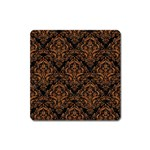DAMASK1 BLACK MARBLE & RUSTED METAL (R) Square Magnet Front
