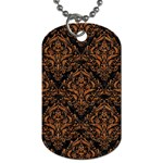 DAMASK1 BLACK MARBLE & RUSTED METAL (R) Dog Tag (One Side) Front