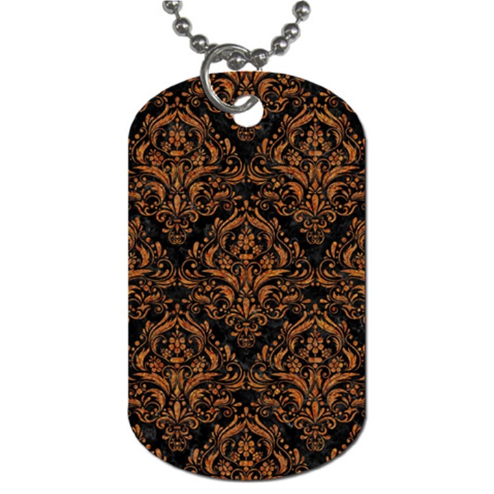 DAMASK1 BLACK MARBLE & RUSTED METAL (R) Dog Tag (One Side)