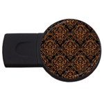DAMASK1 BLACK MARBLE & RUSTED METAL (R) USB Flash Drive Round (2 GB) Front