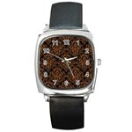 DAMASK1 BLACK MARBLE & RUSTED METAL (R) Square Metal Watch Front