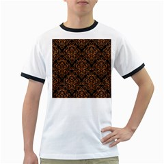 Damask1 Black Marble & Rusted Metal (r) Ringer T Shirts