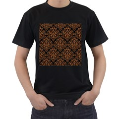 Damask1 Black Marble & Rusted Metal (r) Men s T Shirt (black) (two Sided)