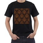 DAMASK1 BLACK MARBLE & RUSTED METAL (R) Men s T-Shirt (Black) (Two Sided) Front