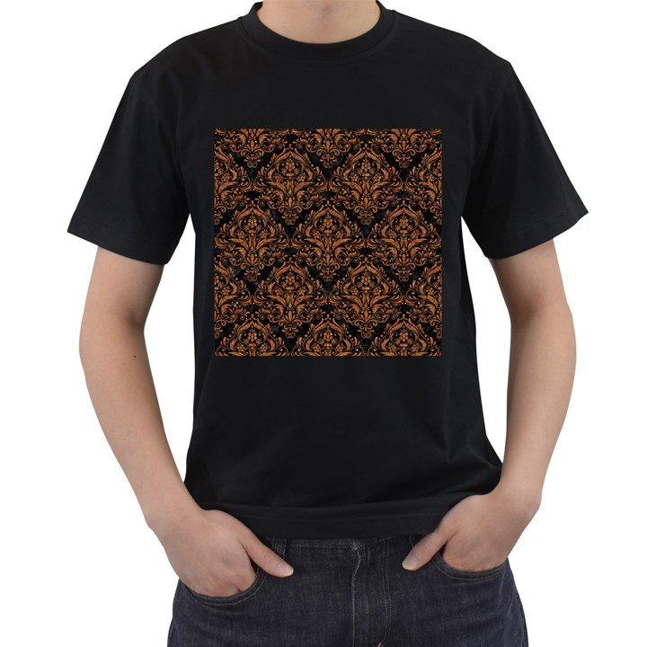DAMASK1 BLACK MARBLE & RUSTED METAL (R) Men s T-Shirt (Black) (Two Sided)