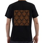 DAMASK1 BLACK MARBLE & RUSTED METAL (R) Men s T-Shirt (Black) (Two Sided) Back