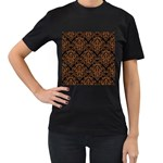 DAMASK1 BLACK MARBLE & RUSTED METAL (R) Women s T-Shirt (Black) (Two Sided) Front