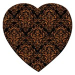 DAMASK1 BLACK MARBLE & RUSTED METAL (R) Jigsaw Puzzle (Heart) Front
