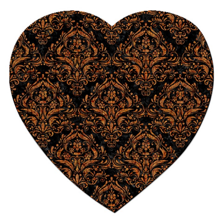DAMASK1 BLACK MARBLE & RUSTED METAL (R) Jigsaw Puzzle (Heart)