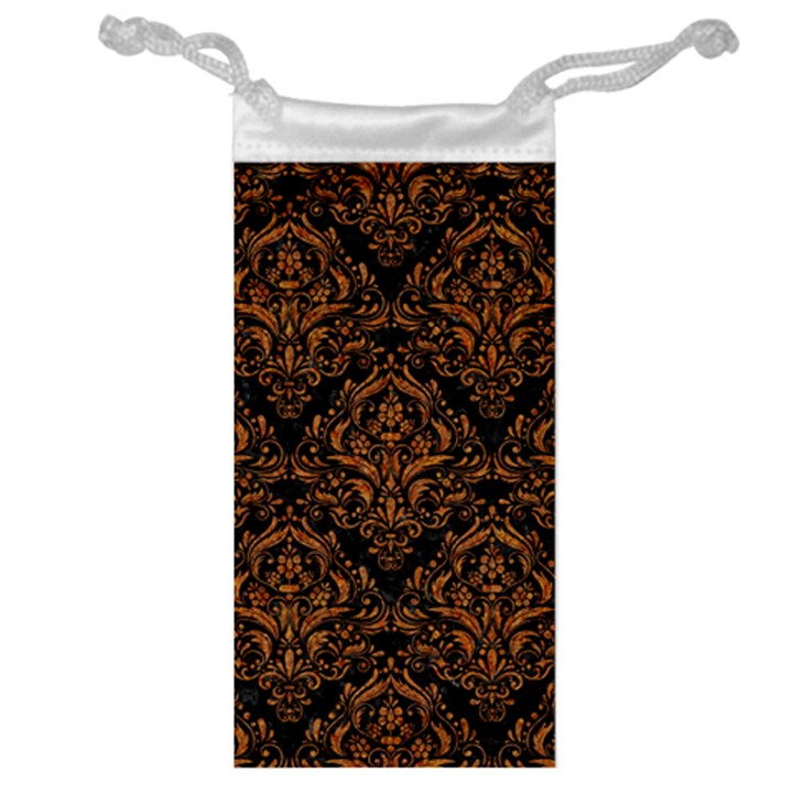 DAMASK1 BLACK MARBLE & RUSTED METAL (R) Jewelry Bag