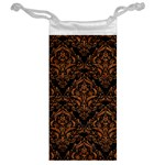DAMASK1 BLACK MARBLE & RUSTED METAL (R) Jewelry Bag Back