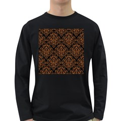 Damask1 Black Marble & Rusted Metal (r) Long Sleeve Dark T Shirts
