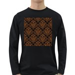 DAMASK1 BLACK MARBLE & RUSTED METAL (R) Long Sleeve Dark T-Shirts Front