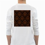 DAMASK1 BLACK MARBLE & RUSTED METAL (R) White Long Sleeve T-Shirts Back