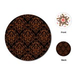 DAMASK1 BLACK MARBLE & RUSTED METAL (R) Playing Cards (Round)  Front
