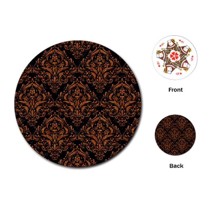 DAMASK1 BLACK MARBLE & RUSTED METAL (R) Playing Cards (Round)