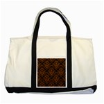 DAMASK1 BLACK MARBLE & RUSTED METAL (R) Two Tone Tote Bag Front