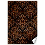 DAMASK1 BLACK MARBLE & RUSTED METAL (R) Canvas 12  x 18   18 x12 Canvas - 1