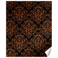 Damask1 Black Marble & Rusted Metal (r) Canvas 16  X 20