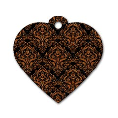Damask1 Black Marble & Rusted Metal (r) Dog Tag Heart (one Side)